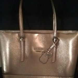 Guess gold zippered tote